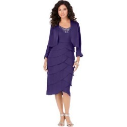 Plus Size Women's Beaded Tier Jacket Dress by Roaman's in Midnight Violet (Size 18 W) found on Bargain Bro Philippines from fullbeauty for $129.99