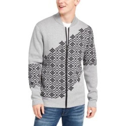 DKNY Men's Sweater Gray Size Large L Full Zip Fair Isle Graphic (L)(cotton) found on Bargain Bro from Overstock for USD $31.14