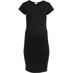 Times 2 Women's Casual Dresses BLACK - Black Ruched-Side Maternity Cap-Sleeve Dress found on Bargain Bro from zulily.com for USD $12.91