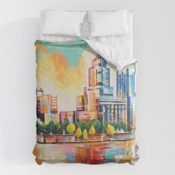 Comforters   Pittsburgh Skyline by Sara Buttra-coleman - Queen: 88