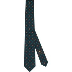 Interlocking G And Clover Silk Tie - Blue - Gucci Ties found on Bargain Bro India from lyst.com for $220.00