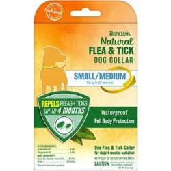TropiClean Flea & Tick Collar for Dogs Small & Medium Breeds, 1 Collar (4-mos. supply) found on Bargain Bro India from Chewy.com for $13.99