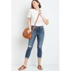 Silver Jeans Co.® Womens Avery High Rise Dark Destructed Cropped Jean Blue Denim - Size 36 - Maurices found on Bargain Bro from Maurices for USD $56.24