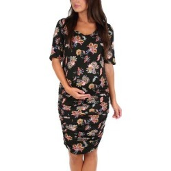 Mother Bee Maternity Women's Casual Dresses Floral - Black Floral Ruched Maternity Dress found on Bargain Bro from zulily.com for USD $9.11