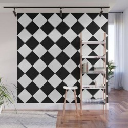 Diamond Black And White Wall Mural by Beautiful Homes - 8' X 8' found on Bargain Bro India from Society6 for $209.99