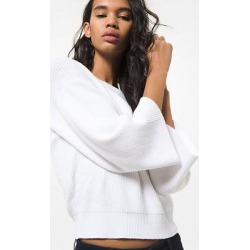 Michael Kors Ribbed Cotton Blend Bell-Sleeve Sweater White L found on MODAPINS from Michael Kors for USD $105.00