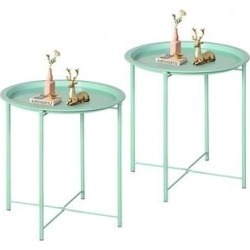 VECELO Round Table/ End Table LGrn for Living room& Bedroom(Set of 1/Set of 2) (set of 2), Green