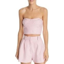 Bec + Bridge Womens Check You Later Crop Top Houndstooth Strapless - Pink Houndstooth (6), Women's(polyester) found on MODAPINS from Overstock for USD $53.99