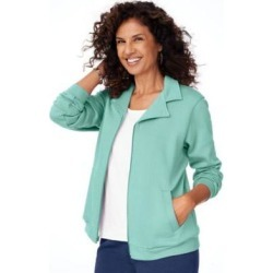 Women's Zip-Front Fleece Jacket, Beach Glass Green L Misses found on Bargain Bro India from Blair.com for $24.99