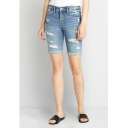 Silver Jeans Co.® Womens Suki Medium Destructed Bermuda Shorts Blue Denim - Size 28 - Maurices found on Bargain Bro from Maurices for USD $48.64