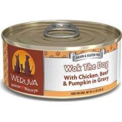Weruva Wok the Dog with Chicken, Beef & Pumpkin in Gravy Grain-Free Canned Dog Food, 5.5-oz, case of 24