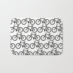 Bath Mat | Bicycle Stamp Pattern - Black And White - Fixie Fixed Gear Bike by Cjsdesign - 17