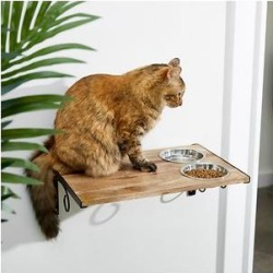 Frisco Wall Mounted Wooden Cat Feeding Station, Natural, 2 Cup