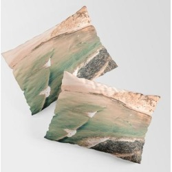 California Pacific Coast Highway // Vintage Waves Crashing On The Beach Teal Ocean Water King Size Pillow Sham by Desertxpalm - STANDARD SET OF 2 - Cotton