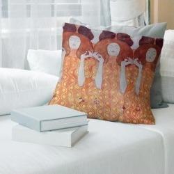 Porch & Den Gustav Klimt 'Angel Brides' Throw Pillow (16 x 16 - Orange - Linen), Brown found on Bargain Bro from Overstock for USD $42.55
