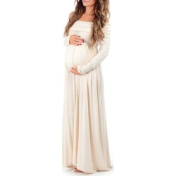 Mother Bee Maternity Women's Maxi Dresses Toffee - Toffee Maternity Off-Shoulder Maxi Dress found on Bargain Bro from zulily.com for USD $15.19