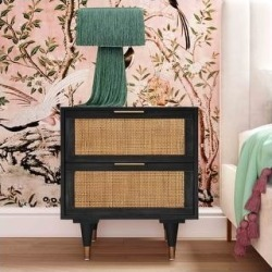 Sierra Nightstand (Black and Brown), TOV Furniture found on Bargain Bro from Overstock for USD $280.44