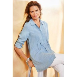 Women's Revelle Shirt by Soft Surroundings, in Light Chambray size XS (2-4)
