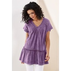 Women's Lily-Rose Tunic Top by Soft Surroundings, in Dusty Purple size XS (2-4)