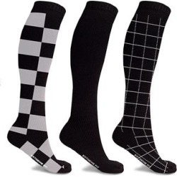 XTF by Extreme Fit Compression Socks undefined - Gray & Black Check Knee-High Three-Pair Compression Socks Set found on Bargain Bro from zulily.com for USD $12.91