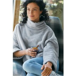 Women's Glacier Pullover Top by Soft Surroundings, in Heather Grey size XS (2-4)