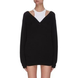 Inner Tank Top Layer Knit V Neck Sweater - Black - T By Alexander Wang Knitwear found on Bargain Bro India from lyst.com for $350.00