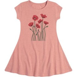 Instant Message Girls' Casual Dresses DESERT - Desert Pink Abstract Poppies Fit & Flare Dress - Toddler & Girls found on Bargain Bro Philippines from zulily.com for $14.99