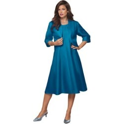 Plus Size Women's Fit-And-Flare Jacket Dress by Roaman's in Peacock Teal (Size 28 W) found on Bargain Bro Philippines from fullbeauty for $59.99