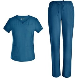 Pandamed Women's Scrubs Bottoms CARIBBEAN - Caribbean V-Neck Scrub Top & Pants - Women found on Bargain Bro from zulily.com for USD $18.99