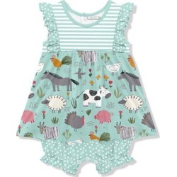 Little Millie Girls' Rompers Farm - Mint & White Farm Animals Ruffle-Trim Skirted Bubble Romper - Infant & Toddler found on Bargain Bro Philippines from zulily.com for $19.99