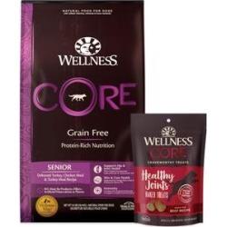 Wellness CORE Grain-Free Senior Deboned Turkey Recipe Dry Dog Food, 24-lb bag + Wellness CORE Grain-Free Marrow Roasts Hearty Beef Recipe Dog Treats, 8-oz bag