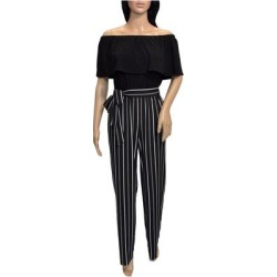 Bebe Womens Black White Striped Off Shoulder Jupmsuit (L), Women's(Cotton) found on Bargain Bro Philippines from Overstock for $71.24