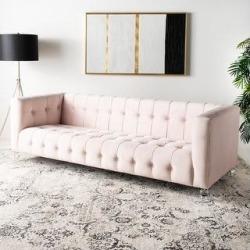 Safavieh Couture Brynn Acrylic Leg Sofa (Dark Grey), Gray found on Bargain Bro from Overstock for USD $790.39