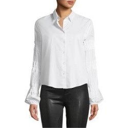 Alexis Womens Ruffle Sleeve Button Up Shirt, White, X-Small (White - XS), Women's(cotton, solid) found on MODAPINS from Overstock for USD $165.87