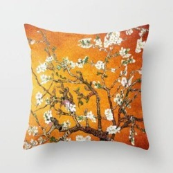 Throw Pillow   Vincent Van Gogh Blossoming Almond Tree (almond Blossoms) Orange Sky by Providence Athena um Arts - Cover (16
