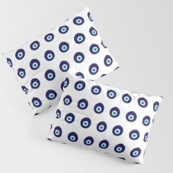 Pillow Sham | Blue Evil Eye Bead Pattern by Maro Dek - STANDARD SET OF 2 - Cotton - Society6 found on Bargain Bro from Society6 for USD $30.39