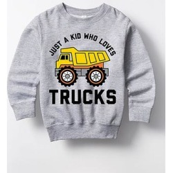Instant Message Boys' Sweatshirts and Hoodies ATHLETIC - Athletic Heather 'Just A Kid Who Loves Trucks' Crewneck Sweatshirt - Toddler & Boys found on Bargain Bro from zulily.com for USD $13.67