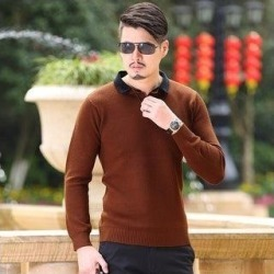 Autumn And Winter Fashion Men's Sweater Shirt Mens New Color (rust brown - M), Red Brown found on Bargain Bro Philippines from Overstock for $26.50