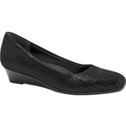 Women's Lauren Leather Wedge by Trotters in Black Suede Patent (Size 8 M) found on Bargain Bro Philippines from Roamans.com for $99.99