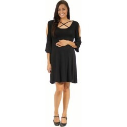 24/7 Comfort Apparel Women's Maternity Neck-Split Sleeve Dress found on Bargain Bro Philippines from Overstock for $27.49