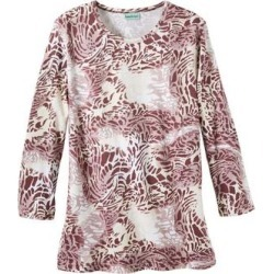 Haband Womens Safari Knit Top, 3/4 Sleeves, Wine, Size L found on Bargain Bro Philippines from Haband for $17.99