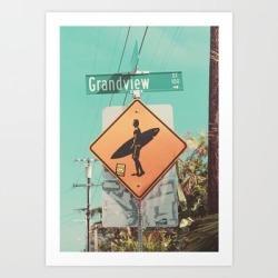 Art Print | Grandview Street, Leucadia, Encinitas, California by Molly@lazyjlifestyle.com - X-Small - Society6 found on Bargain Bro India from Society6 for $18.71