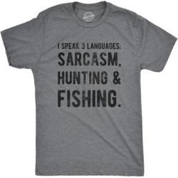 Mens I Speak 3 Languages Sarcasm Hunting And Fishing Tshirt found on Bargain Bro from Overstock for USD $12.84