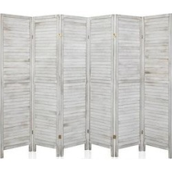"72"" 6 Panel Wood Folding Freestanding Room Divider Privacy Screen - 5.9ft (White)"