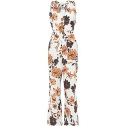 Floral-print Linen Wide-leg Jumpsuit - White - Nicholas Jumpsuits found on MODAPINS from lyst.com for USD $179.00