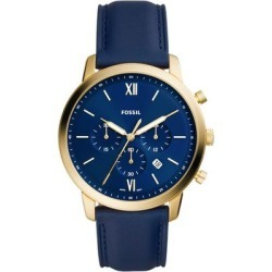 Neutra Chronograph Leather Strap Watch - Blue - Fossil Watches found on Bargain Bro India from lyst.com for $149.00