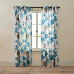 Wide Width BH Studio Canvas Printed Grommet Panel by BH Studio in Light Blue Poppy (Size 48
