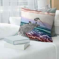 Porch & Den Katsushika Hokusai 'Kajikazawa in Kai Province' Throw Pillow (16 x 16 - Red Ombre - Linen), Multicolor found on Bargain Bro from Overstock for USD $45.59