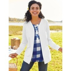 Women's Plus Open-Front Fleece Jacket, White 3XL found on Bargain Bro India from Blair.com for $31.99