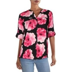Calvin Klein Womens Blouse V-Neck Floral Print - Pink (Pink - S), Women's(polyester) found on Bargain Bro from Overstock for USD $27.29